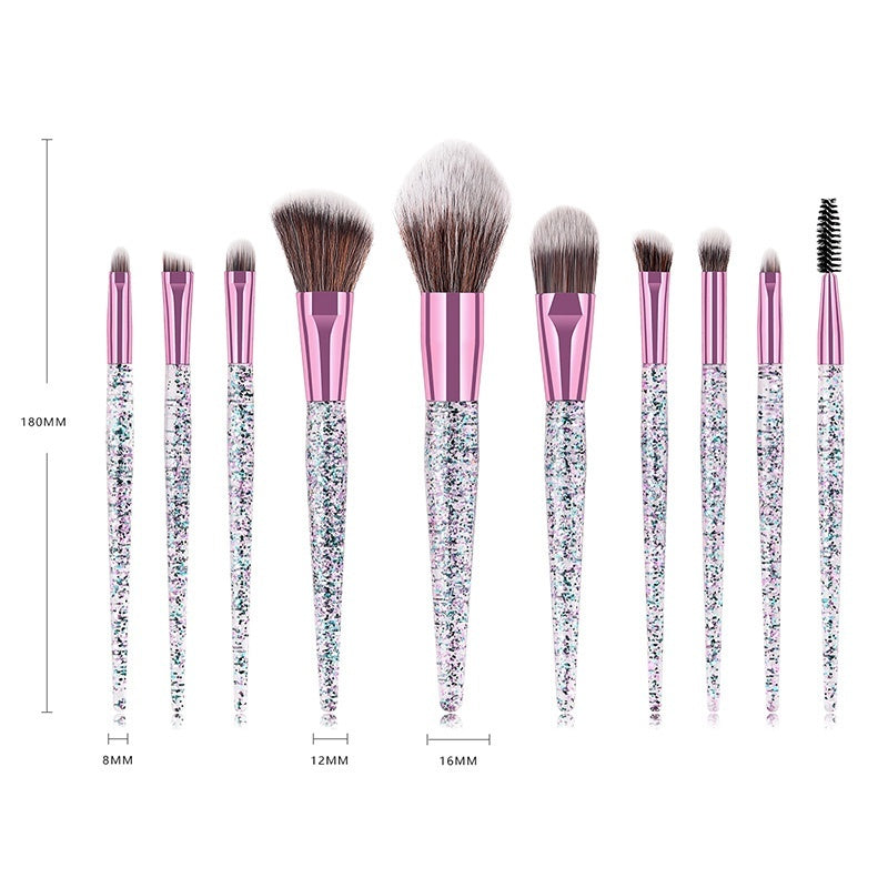 6/10pcs Diamond crystal Makeup Brush Set Face Eye Shadow Brush Foundation Blush Brush Cosmetic Kit Accessories