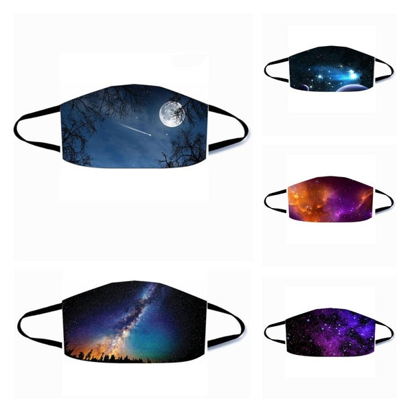 Space and Universe Print Face Mask Breathable Mouth Mask Washable and Reusable