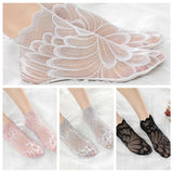 Fashion Invisible Summer Anti skid Liner Ankle Socks Lace peacock Low Cut Cotton Hosiery