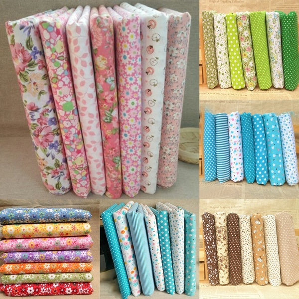 7Pcs/Set Quilting Fabric Floral Cotton Cloth DIY Craft Sewing Handmade Accessory Quilting Supplies Patchwork Fabric