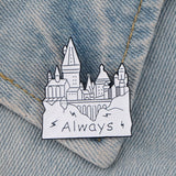 L1784 1pcs Free Dobby Magic Castle Always Metal Enamel Pins Cute Collar Pins and Brooches for Women Brooch Badge Lapel Pin Jewelry