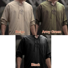 Load image into Gallery viewer, Medieval Men's Old-fashioned Tops Vintage Linen Shirt Ancient Viking Embroidery Retro Cosplay Costume Plus Size Long Sleeve T-shirt