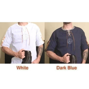 Medieval Men's Old-fashioned Tops Vintage Linen Shirt Ancient Viking Embroidery Retro Cosplay Costume Plus Size Long Sleeve T-shirt
