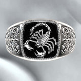 Personality Domineering Men's Retro 925 Sterling Silver Poison Scorpion Fashion Creative Ring Anniversary Birthday Punk Style Men's Luxury Jewelry Gift for Boyfriend Size 7-13