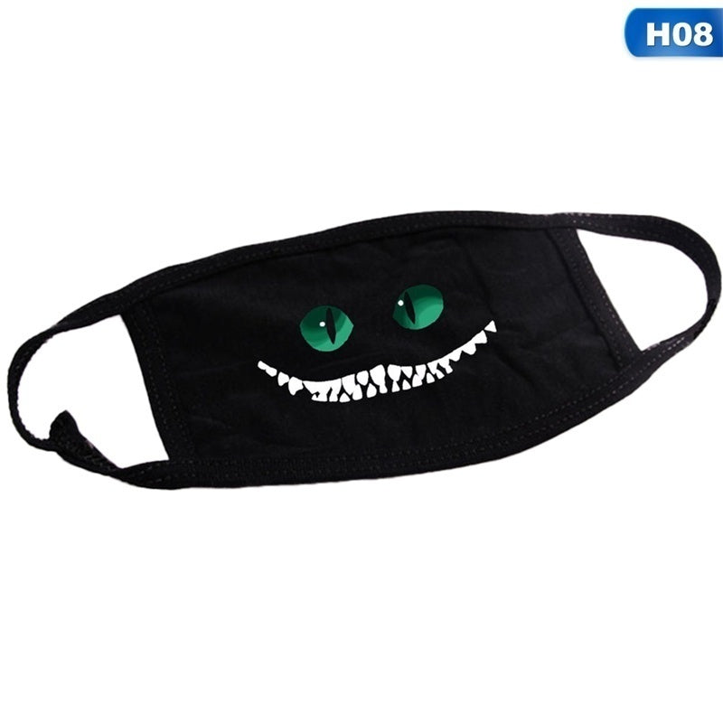 1psc Cute Black Reusable Dust-Proof Cotton Mouth Mask Anti Dust Face Mask Outdoor Printed Half Face Masks for Men Women