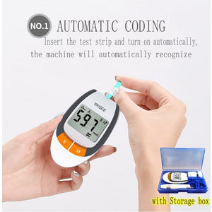 NEW SET Portable Digital Upper Arm Blood Pressure Monitor LCD & Blood Glucose Meter with 100pcs Test Strips and Lancets Glucometer Kit Diabetic Blood Sugar Meter Diabetes Tester