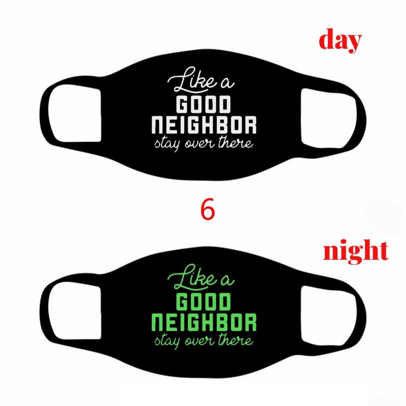 1Pcs New Fashion Women Cotton Face Masks Unisex DustProof Letter Printed Luminous Face Masks Windproof Black Mask Social Distancing Printed Half Face Mouth Muffle