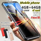 Smart Mobilephone Touch Screen MTK6580 4GB RAM + 64GB ROM Large Screen Smartphone Dual Card Support Wireless Bluetooth GPS Face Unlock Android Music Phone