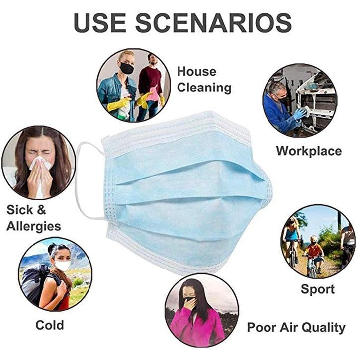 50 Pieces Three-Layer Disposable Protective Face Mask Anti-Flu Blue Mask