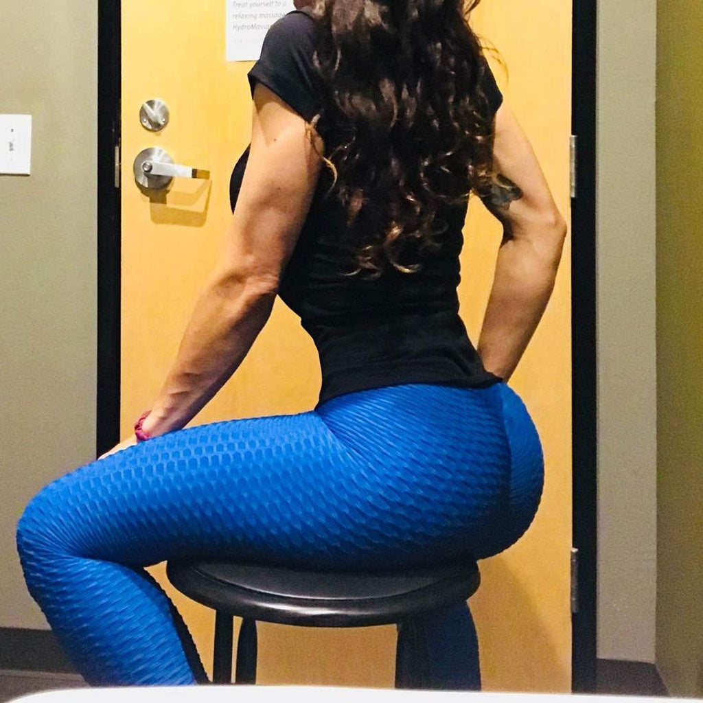 Push Up Textured Leggings Women Bubble Legins Fitness High Waist Butt Lifting Leggings Anti Cellulite Leggings Workout Sexy Black Jeggings