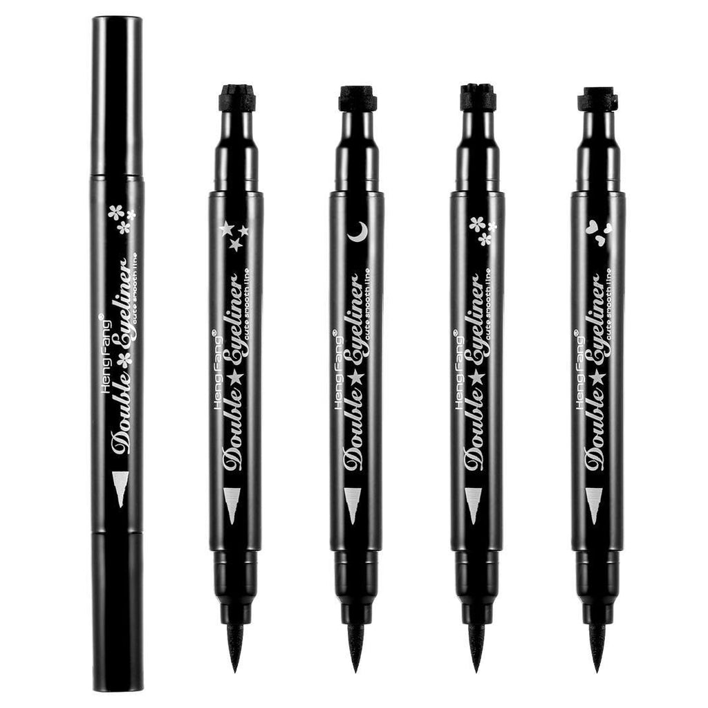 1 PCS with 2 Sides Trendy Black Waterproof Liquid Eyeliner Pencil Star Heart Shape Dot Stamp Tattoo
