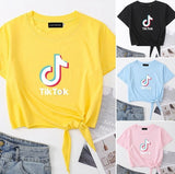 6 Colors New Fashion Women Tik Tok Letter Printed Crop Shirt Top Casual Lace Up Hem Short Sleeve T-Shirt Lady Tik Tok Crop Top