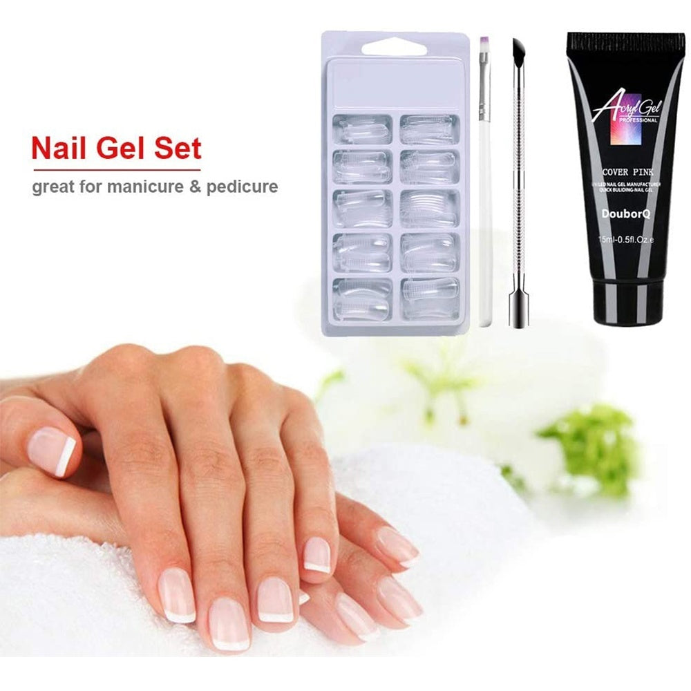 4PCS/SET Nail Tool Builder Salon Quick UV LED Nail Gel Set Nails Extension Poly Gel Double End Nail Pusher Nails Extension Gel Kit