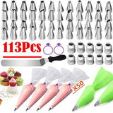 42-113PCS/Set  Pastry Nozzles/Converter Pastry Bag Confectionery Nozzle Stainless Cream Baking Tools Decorating Tip Sets