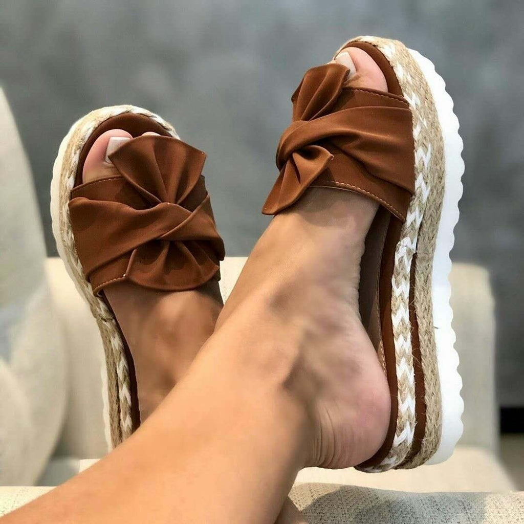 NEW Summer Women Casual Slip on Sandals Beach Shoes with Bow Female Open Toe Platform Slippers Daily Comfortable Flip Flops 34-43