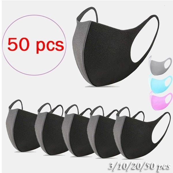 50/20/10/3PCS Face Mask with Earloop Protection Health Blocking Dust Air Pollution and Comfortable 3d Mask