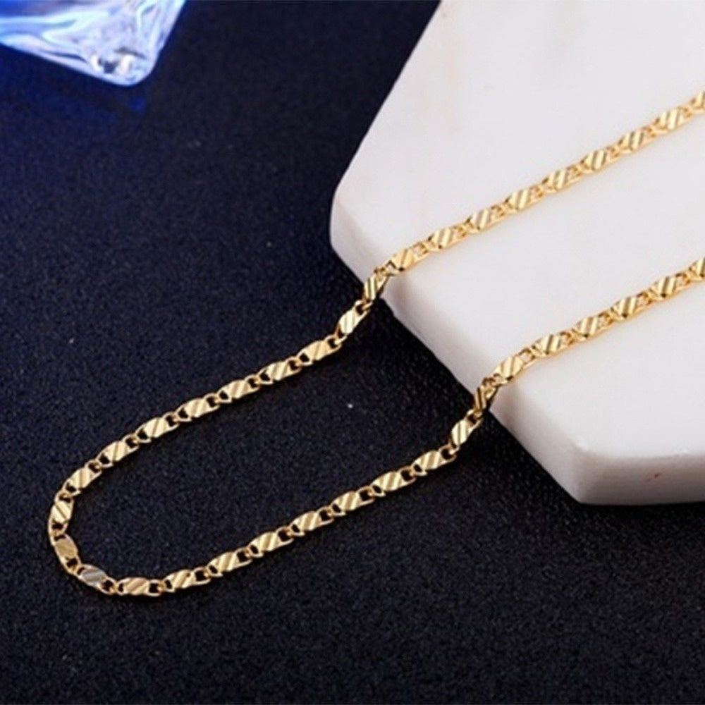 2 PCS 16-30 inches European Luxury Men Women Solid Gold Chain Necklace Bride Wedding Engagement Fine Jewelry