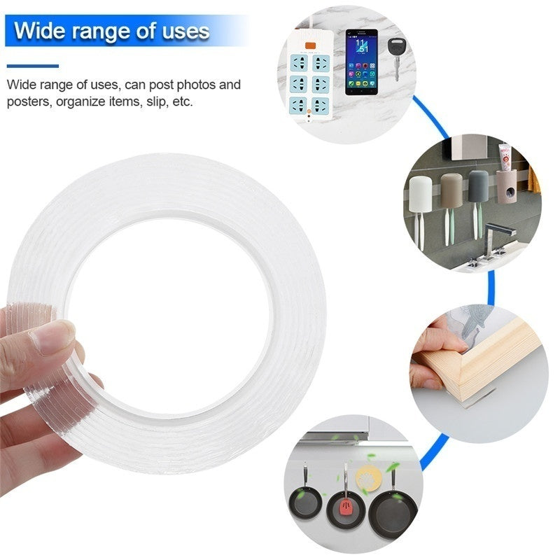 Multifunctional Double Sided Tape Nano Transparent No Trace Acrylic Magic Tape Cleanable Reuse Waterproof Adhesive Tape (size:3cm Width* 1MM Thickness)