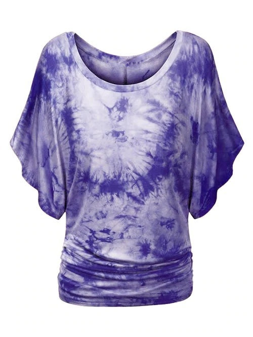 Women's Tie Dye Ruched Batwing Sleeve Top Summer Fashion Casual Short Sleeve Plus Size Blouses
