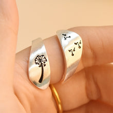 Load image into Gallery viewer, Fashion Jewelry Exquisite Dandelion Geometric 925 Sterlig Silver Temperament Hand Drawn Winding Wedding Engagement Party Opening Ring
