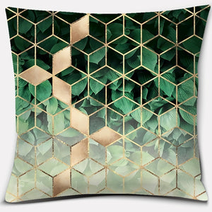 Dark green geometric figure series printed square home decoration pillowcase (45cm * 45cm)