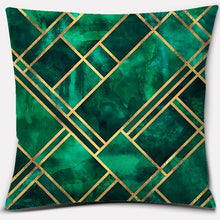 Load image into Gallery viewer, Dark green geometric figure series printed square home decoration pillowcase (45cm * 45cm)