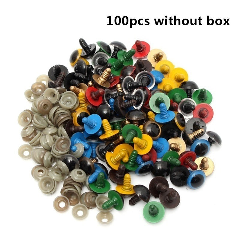 100pcs 4in1 Plastic Doll Eyes Nose DIY Safety Black Colorful Craft Durable Washer Kit Sewing For Teddy Bear Dolls Felting Stuffed Toys Plush Animal Toy Puppet Making