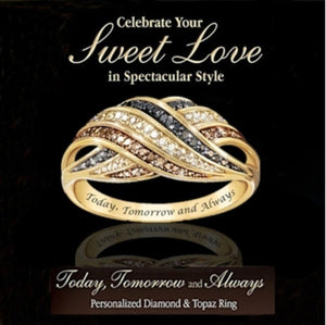 ''Today Tomorrow and Always'' Sparkling  Yellow Gold Natural Gemstone Sapphire Ring Women Wedding Engagement Fine Jewelry'