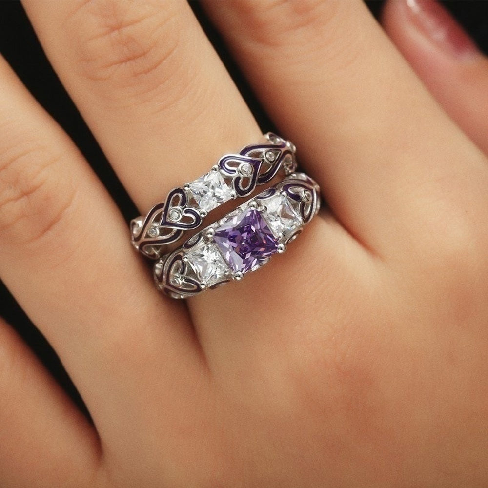 White Gold Filled Amethyst Zircon Women Rings Titanium Steel Men Ring Wedding Engagement Couple Rings