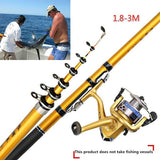 3.0M Portable FRP Ultra-light Outdoor Travel Telescopic Fishing Rod Rotating Fishing Rod Marine Fishing Rod Fishing Tackle-Fishing Reel NOT INCLUDE