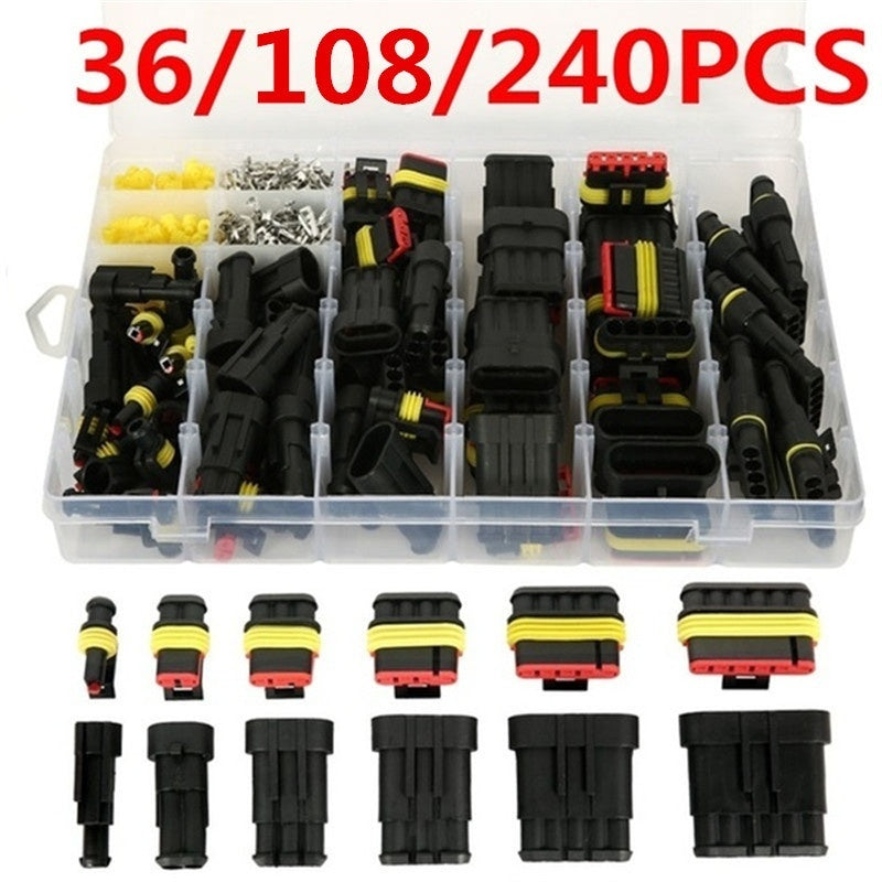 36/108/240pcs Car Connector Plug Terminal Auto Sealed Waterproof Electrical Wire Connector Plug Kit Car Accessories