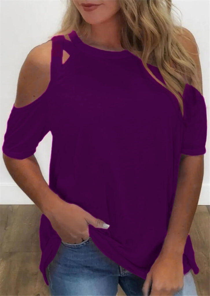 2020 Solid Color Brief Style Hollow Out T-shirt Tops Short Sleeve O-neck Casual Strapless Sexy Plus Size Slim Fit Pullover