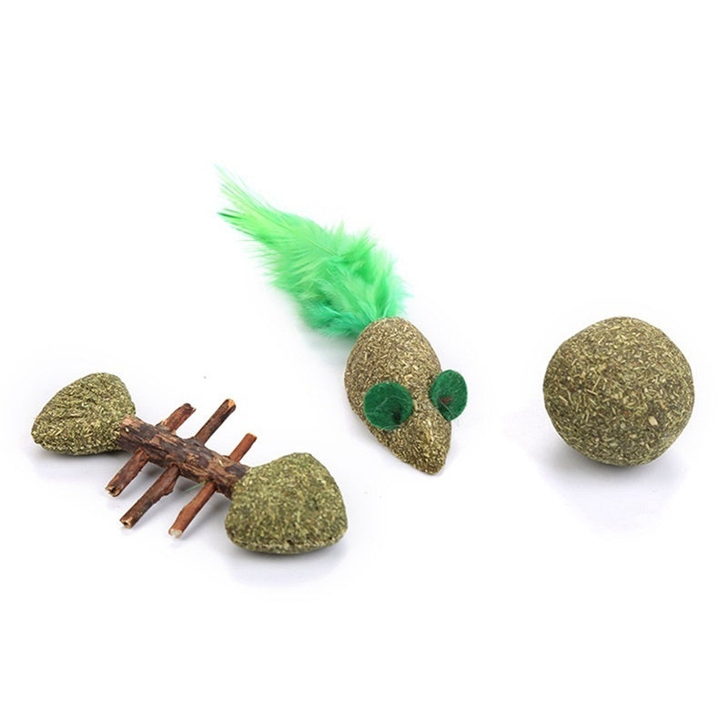 Catnip Toys Mint Ball Catnip Ball Mouse Fish Shape Playing Toy Supplies Pet Toy Product Pet Cat Favor