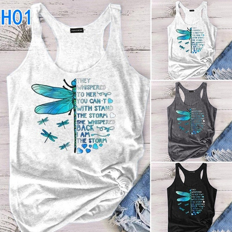 Summer Women Tank Top,Dragonfly Shirts,Cute Racerback Camisole,O-Neck Sleeveless Tank Tops,Whisper Words Of Wisdom Dragonfly Shirts,Casual Vest Top