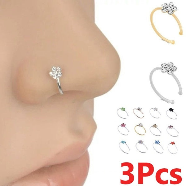 3Pcs 12 Colors Small Thin 5 Clear Crystals Flower Charm Nose Silver Hoop Stud Ring Jewelry