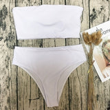 Fashion Sexy Solid Color Tube Top Split Swimsuit Off Shoulder Crop Top Bodycon High Waist Lingerie