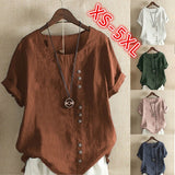 Women Summer Vintage Casual Cotton and Linens Short Sleeve T Shirt Ladies Loose Plus Size Button T Shirt Tops XS-5XL