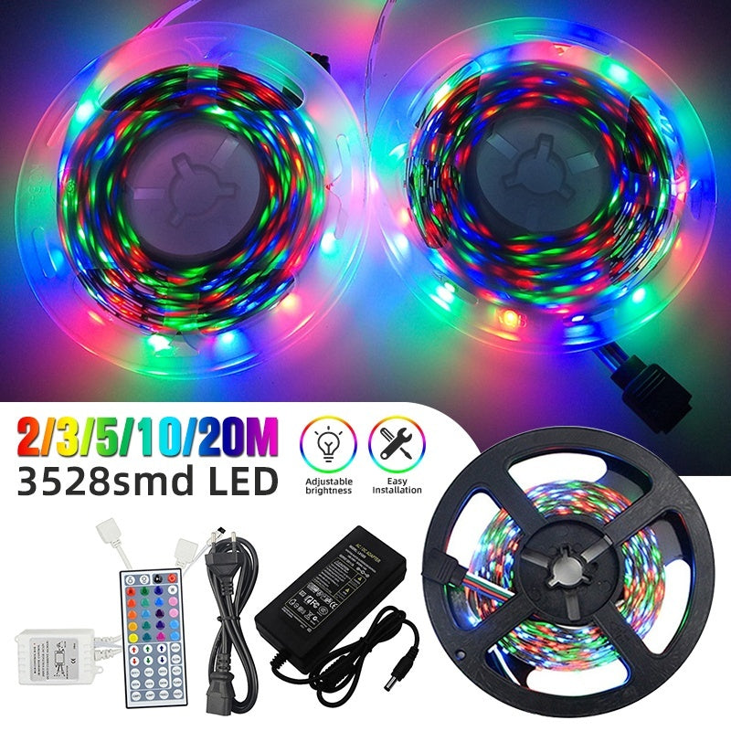 New Upgrade 12V LED Light Strip 20M/10M/5M 65.7ft/32.9ft/16.4ft 3528 RGB LED Tape Lights RGB Rope Lights 16 Milions Colors Flexible Changing LED Strip Lights with Remote for TV Bedroom Party Home Lighting Kitchen Bar