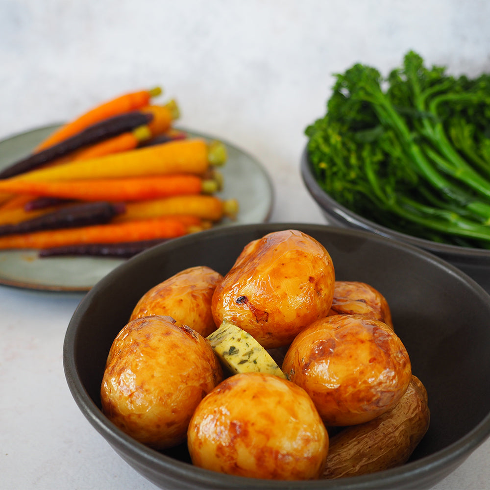 Herb-buttered chat potatoes | Heirloom carrots | Broccolini