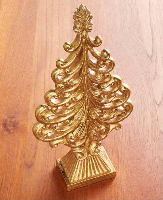 Gold Ceramic Christmas trees (14 inch)