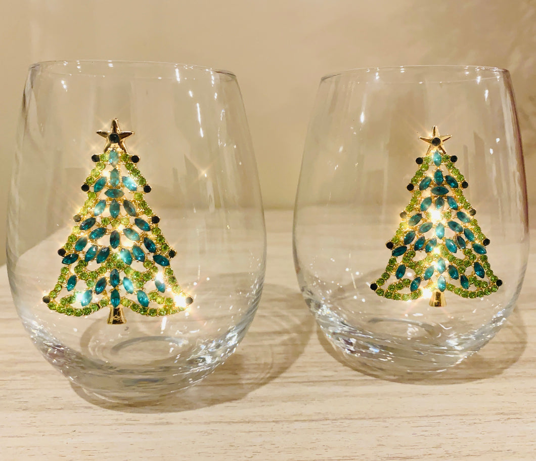 Jeweled Christmas Tree Glasses