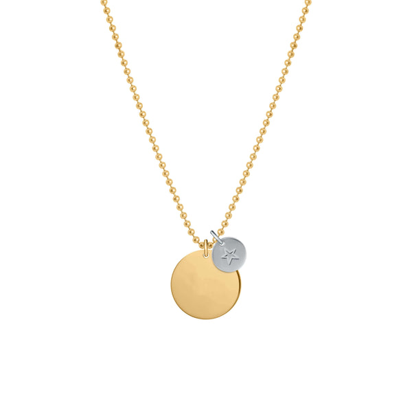 Plain Medallion with Mini Star Necklace - NECKLACE - [variant.title]- Borboleta