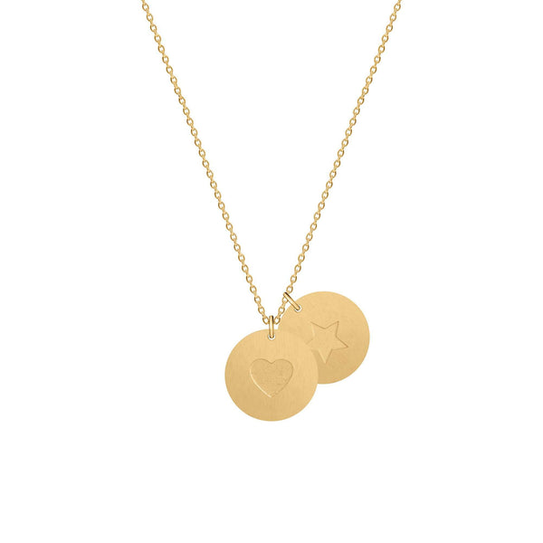 1 Heart 1 Star Medallion Necklace - NECKLACE - [variant.title]- Borboleta