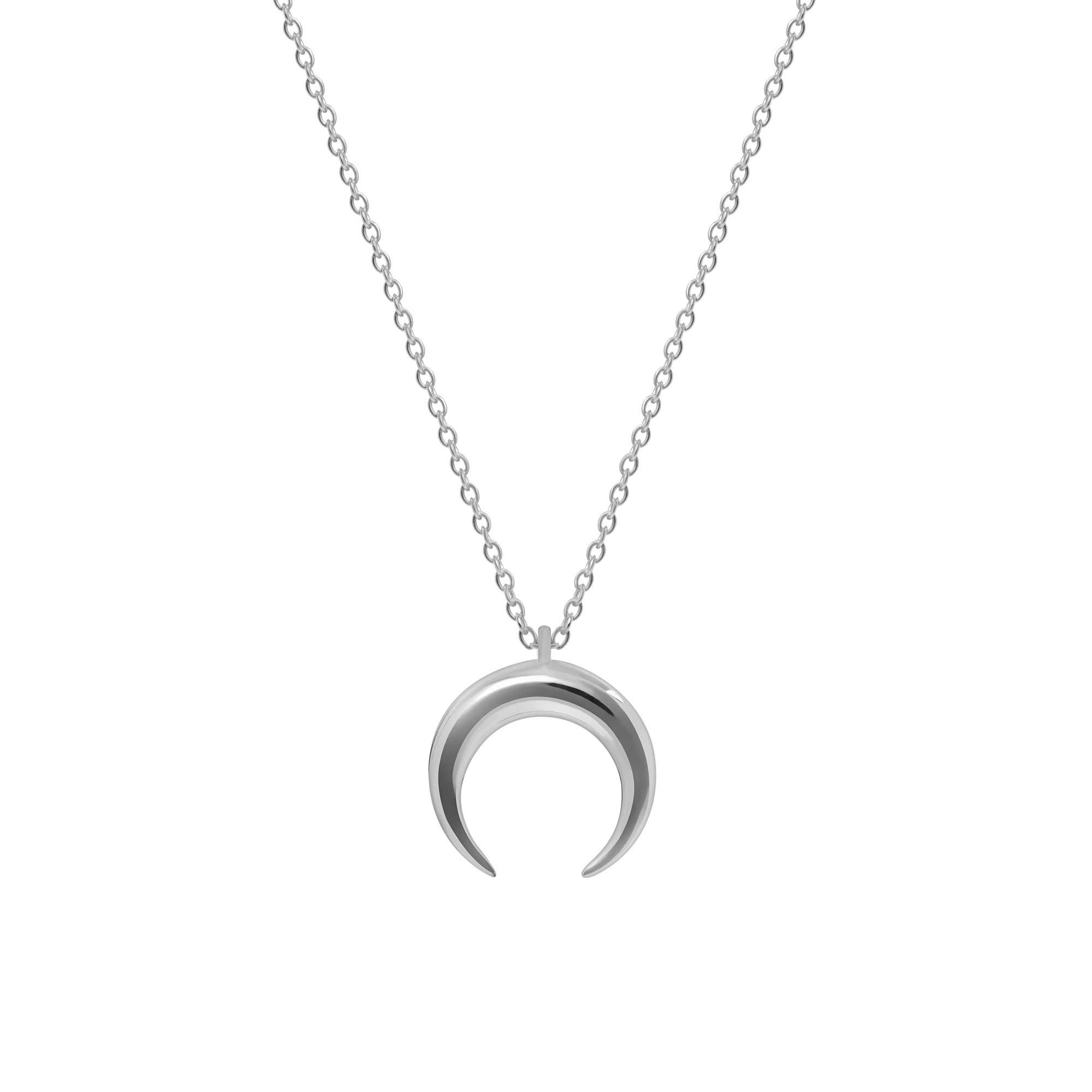s silver claire necklace half moon pendant us