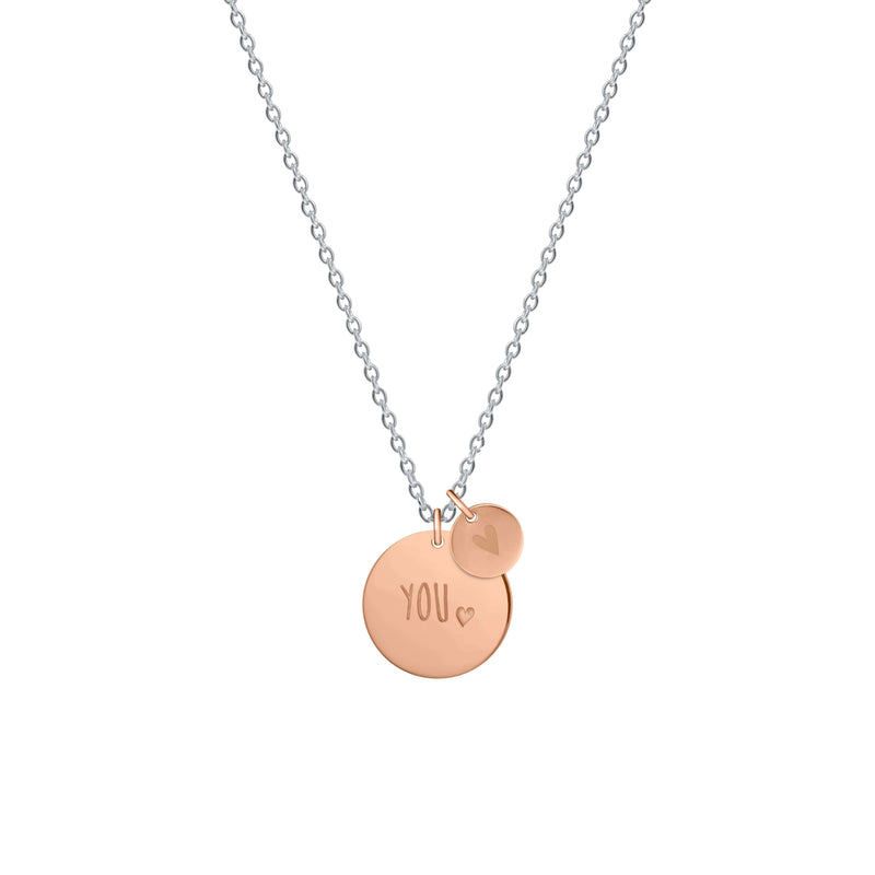 You Medallion with Mini Heart Necklace - NECKLACE - [variant.title]- Borboleta