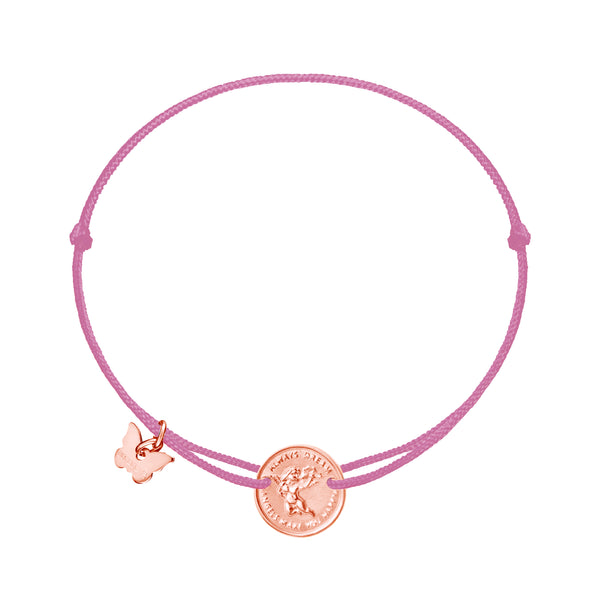 Angel Medallion Bracelet - Rose Gold Plated on Antique Pink - BRACELET - [variant.title]- Borboleta