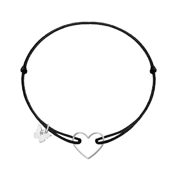 Hole Heart Bracelet - White Gold Plated