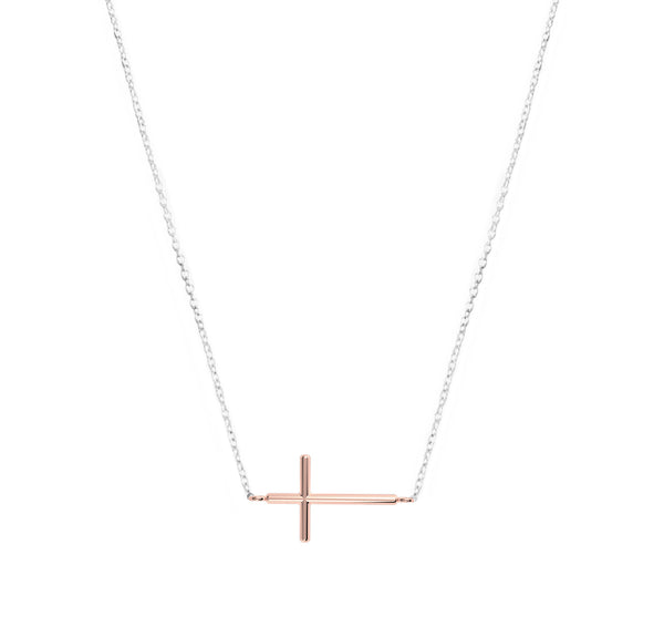 Rose Gold Plated Cross on Rhodium Necklace