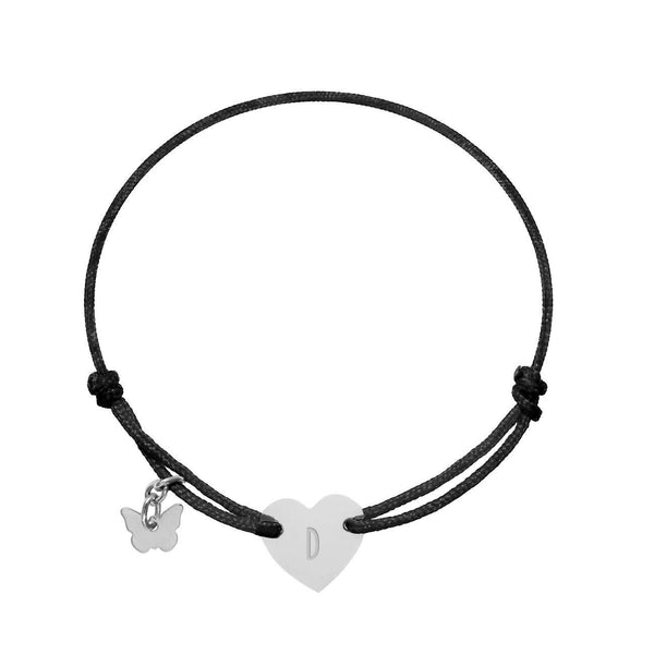 Love Letter 'D' on Heart Bracelet