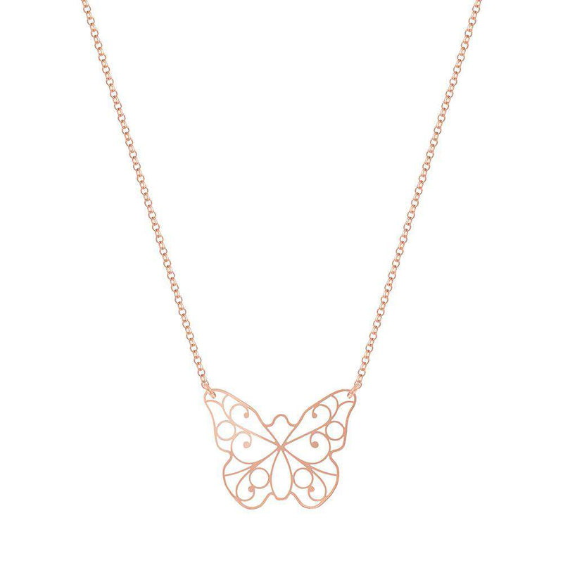 Lace Butterfly Necklace - NECKLACE - [variant.title]- Borboleta